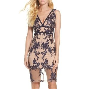 Bardot Embroidered Flora Mesh Deep-V Dress NEW